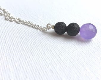 Vertical Bar Pendant Necklace • Lava Stone Necklace • Essential Oil Necklace • Aromatherapy Jewelry • Lava Bead Necklace • Oil Necklace