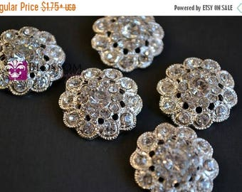 ON SALE Metal Rhinestone Buttons Crystal Clear with Loop 22mm - Flower Centers - Wedding Bridal Prom - Wholesale Jewels Clear Stones Sparkle