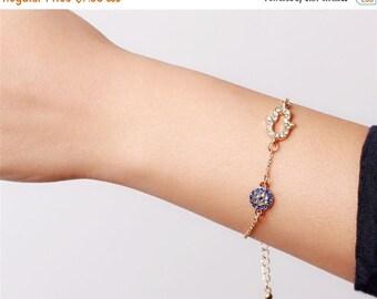 ON SALE Hamsa evil eye gold bracelet - simply everyday jewelry