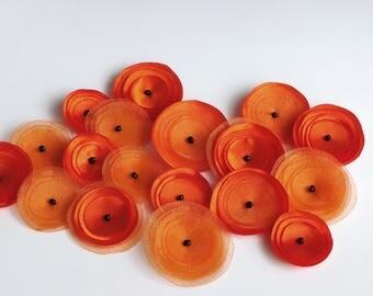 SALE Bright Orange Mix Poppies Embellishmen
