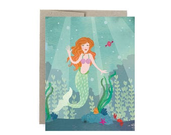 Mermaid Card, Mermaid Greeting Card, Pretty Mermaid Card, Mermaid Party Birthday Card, Mermaid Party Card