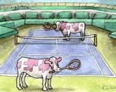 Cows tennis funny wimbledon stadium wall art miniature art ATC Gift Art Trading Card Whimsical Original ART ACEO Watercolor - Katie Hone