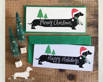 Merry Christmas Doxie. Note Card -- (Personalized, Holiday Card, Santa, Dog, Cute, Dachshund, Vintage-Style, Wiener Dog, Weiner Dog, Rustic)