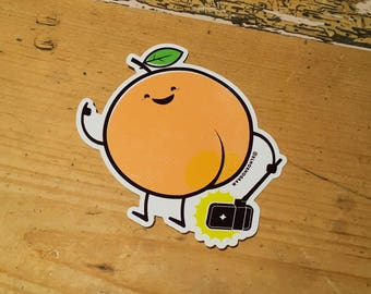 Food selfie 'peach' vinyl sticker
