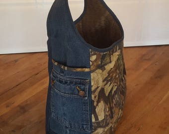 Upcycled Denim Jean & Camo Bag - FAFA Jean Bag