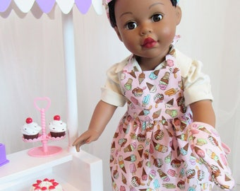 "Pink Cooking/Baking Ensemble for 18"" Doll American Made"