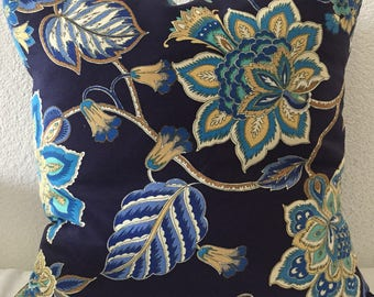 Throw Pillow Cover, Blue with Floral Print  18x18 inch square - Beautiful Home Decor Fabric