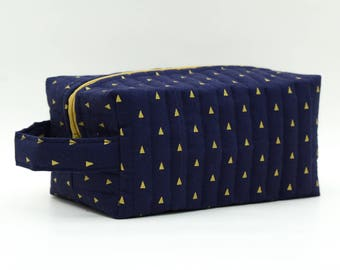 Golden Triangles on Navy Quilted Cosmetic Bag with Handle, Boxy Pouch; Boxy Bag; Make-Up Bag; Travel Bag; First Aid Kit; Shave Bag