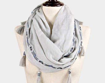 Have one to sell? Sell now Tassels Printed Infinity Scarf Aztec Pattern BOHO Gray
