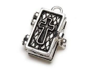 Charm - Prayer Box - Bible - Antiqued Silver