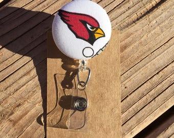 Arizona Cardinals Design Fabric Button Retractable Badge Reel - Cardinals Badge Holder - Handmade Cardinals Design Fabric Button ID Holder