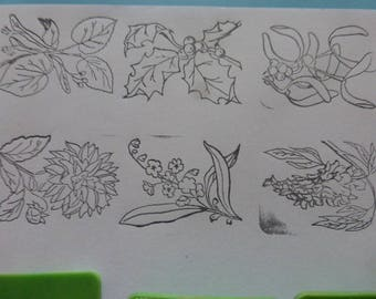 6 Rubber Stamps, Old French School. Flowers, Circa 1970's