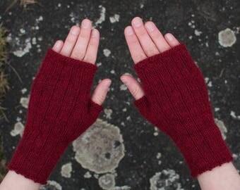 alpaca fingerless gloves, dark red, size S - M (women), merlot red, wristwarmers, soft