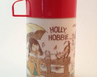 vintage holly hobbie lunchbox thermos bottle by alladin, travel mug, hot and cold, coffee, soup