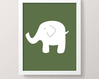 PRINTABLE ART | 8x10 ELEPHANT | Instant Download Printable Nursery Art | Digital Download Art | Green
