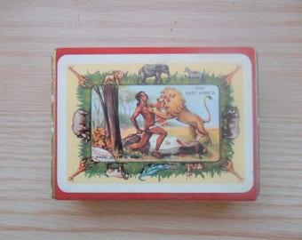 Vintage East African Pictorial Playing Cards 1957 Original Velvet Box