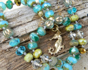 Little Surfer - Colorful Boho Layering Necklace - Seahorse Choker Necklace - Rustic Aqua Teal Gold