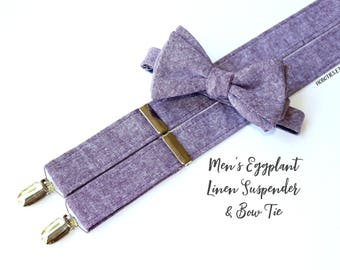 Mens Suspenders~Suspender and Bow Tie Set~Eggplant Bow Tie~Linen Suspenders~ Eggplant Linen~Eggplant Wedding~Eggplant Suspenders