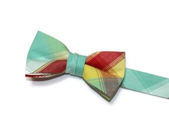 Boys Bow Tie~Easter Bow Tie~Summer Bow Tie~Boys Plaid Bow Tie~Ring Bearer Tie~Wedding Bow Tie~Boys Gift~HoBo Ties~Mint & Red Plaid Bow Tie