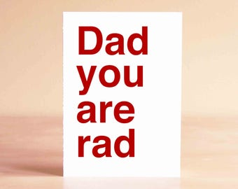 Funny Father's Day Card - Funny Dad Birthday Card - Birthday Card for Dad - Dad you are rad