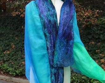 Large shawl, Felted scarf, Nuno felted scarf, Felted shawl, Merino wool scarf, Green felted scarf, Wet felted shawl Gift for mom Made in Us