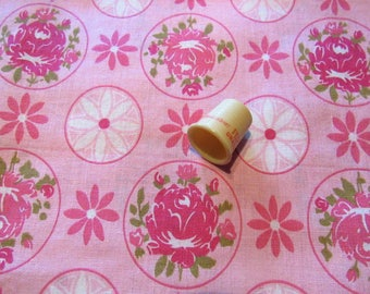shades of pink roses floral print vintage cotton fabric -- 36 wide by the yard
