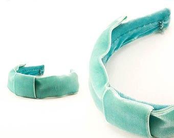 Vintage Velvet Headband Seafoam Green Pastel Girls Headwear 1960s