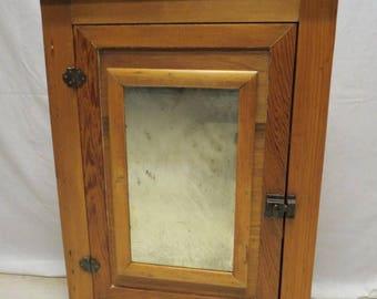 Antique Primitive Rustic Country Pine Hanging Wall Corner Cabinet Bath Medicine Cabinet Mirror Door Three Shelves