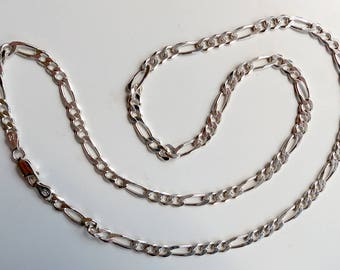 """Vintage MILOR Made in Italy ~ 925 Sterling Silver Figaro 22"""" Chain ~ 4mm Wide"""