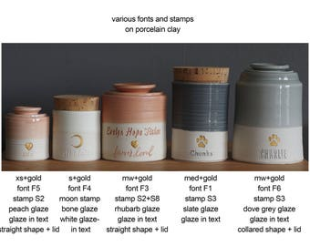 Info: various fonts on several urn sizes. Urn needs to be purchased also.