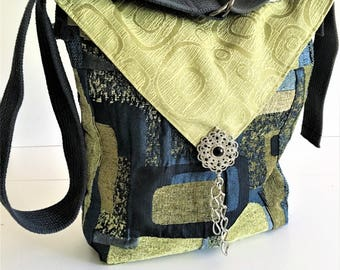 Upcycled Handbags, Crossbody Bag, Fabric Bag, Birthday Gift, Eco Friendly, Recycled Purse, Boho Tote, Hipster Bag, Shoulder Bag, Large Bag