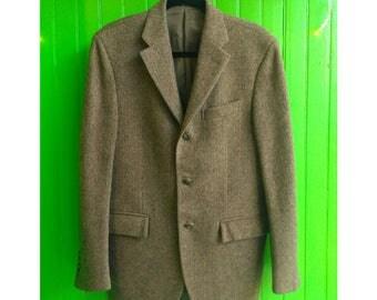 Vintage 1990s Ralph Lauren Polo Three Button Italian Tweed Hacking Jacket 38R