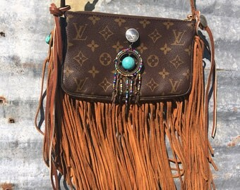 LV Louis Vuitton Upcycled BOHO leather fringed Indian conch Dreamcatcher shoulder bag Hippie Style Authentic LV