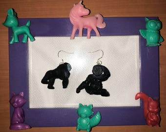 Gorilla monkey ape recycled upcycled toys cute earrings 925