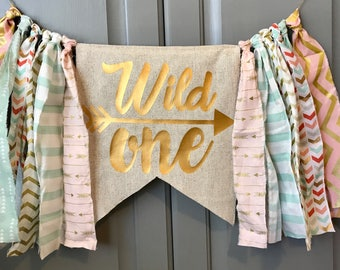 WILD ONE Highchair Banner Rag Tie Banner ONE Banner Garland - First Birthday - Pick Your Colors