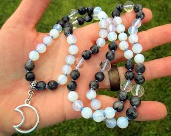 Moon Magic Devotional Necklace with Silver Crescent Moon, Black Labradorite, Opalite, & Clear Quartz / Pagan Prayer Beads / 72 Mala