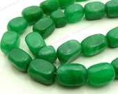 Green Malaysia Jade Tumbled Nugget Gemstone Beads - 15pcs - 10x8mm to 14x9mm - Pebbles, Light Green, Olive Green, Free Form Beads - BG31