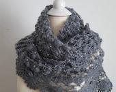 Beaded Gray Wedding Shawl, Crochet shawl in Silver Grey - Bridesmaid Gift, Wedding Favor - Beaded Shawl - Winter Wedding Shawl