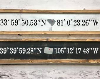 Latitude Longitude Coordinates - Wood Sign Decor - Housewarming/Living Room Decor