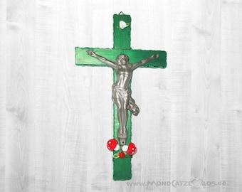 wall cross GREEN JESUS