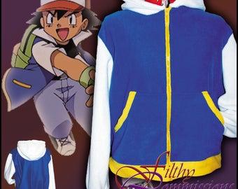 Pokemon - Ash Ketchum Inspired Hoodie jacket cosplay costume coat handmade Trainer