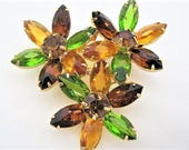 Peridot Rhinestone Brooch - Open Back - Flower Cluster Pin