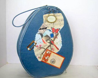 Blue Child's Suitcase, Travel Doll Clothes,  Up cycled Cosmetic Case