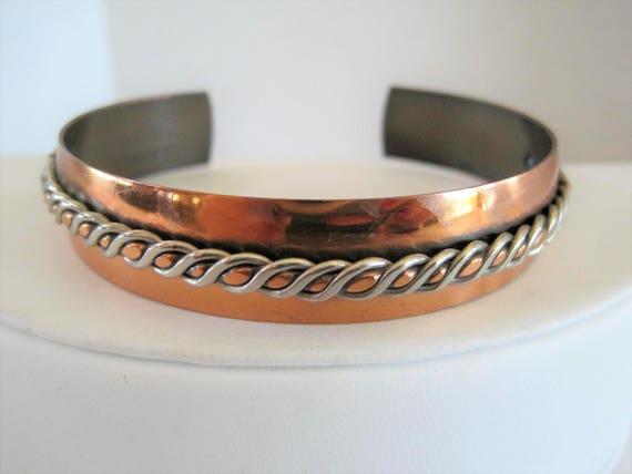 Copper Cuff - Mixed Metal Braid - Boho Bracelet