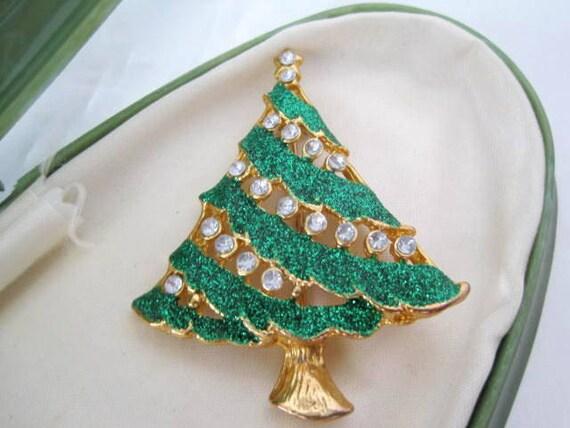 Christmas Tree Brooch - Green Enamel - Clear Rhinestones - Christmas Pin