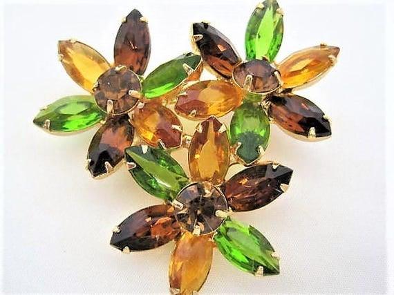 Peridot Rhinestone Brooch - Open Back - Flower Cluster Pin