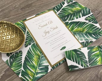 Palm Leaf Gold Foil Destination Gatefold Wedding Invitation / Tropical invitation / Gold or Silver Foil Wedding Invitation
