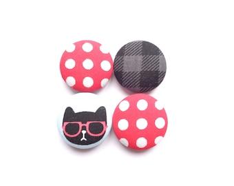Cat Magnets, Polka Dot Magnets, Lumberjack Magnets, Red Magnets, Black Magnets, Refrigerator Magnets, Fridge Magnets, Ecofriendly Magnets