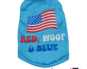 Red, Woof, and Blue Patriotic Labor Day 4th of July Memorial Day Dog Tank