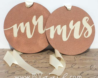 Mr Mrs Chair sign, geometric signs. Rustic and shabby chic wedding decor. Copper and beige signs.